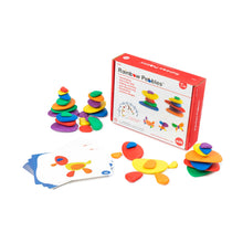 Load image into Gallery viewer, EDX Education stack of coloured Rainbow Pebbles with activity cards and packaging