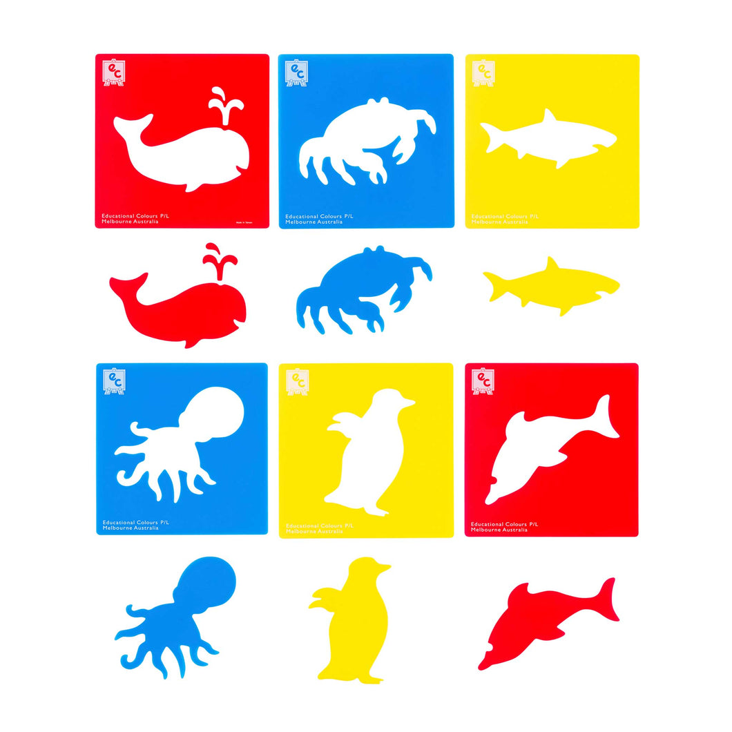 set of six positive and negative sea life stencils