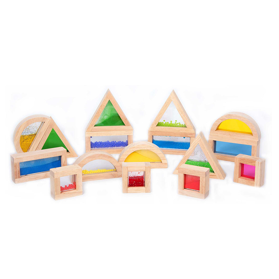 TickiT sensory blocks with wooden frames and coloured inserts