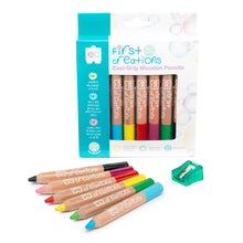 Load image into Gallery viewer, Educational Colours set of six coloured Wooden Pencils with packaging and sharpener