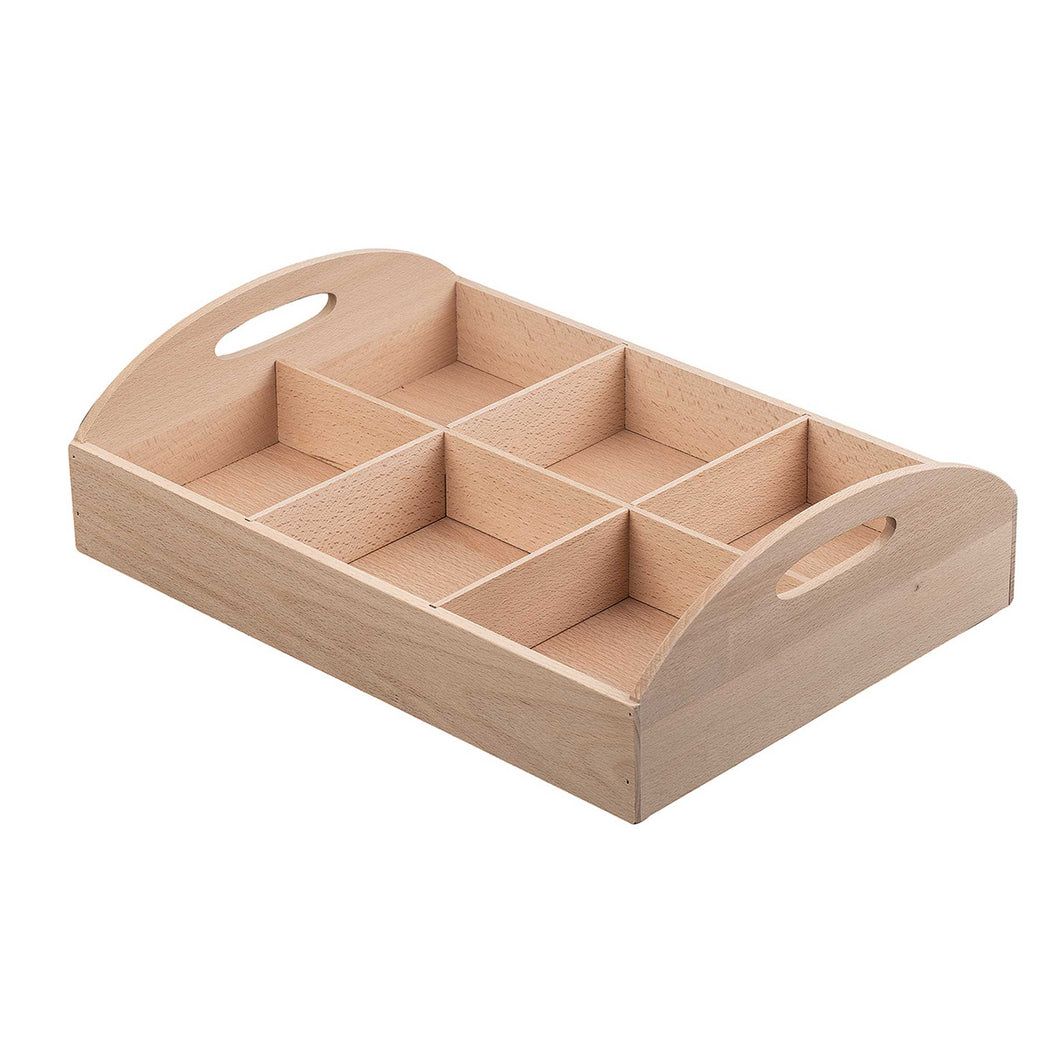 Wooden Sorting Tray with six Compartments and handles
