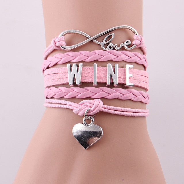 """I Love Wine"" Heart Charm Wrap Bracelets"