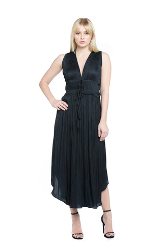 Pleated Sleeveless Top Dress - Midnight