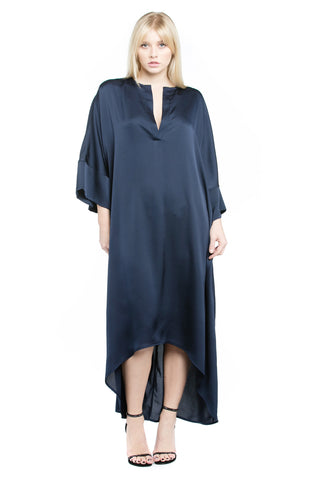 High-Low Midi Satin Tunic Dress - Navy