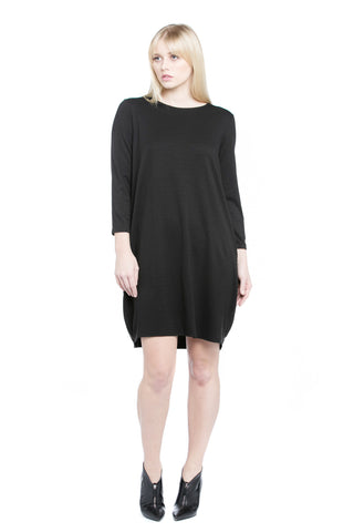 Knit Cocoon Drape Dress - Black