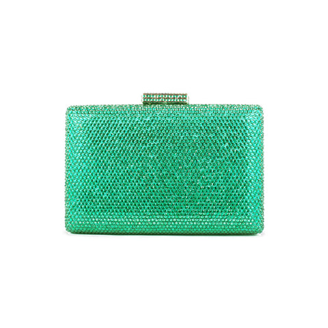 Crystal Box-Frame Clutch - Seafoam