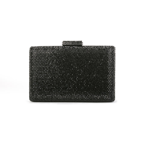 Crystal Box-Frame Clutch - Black