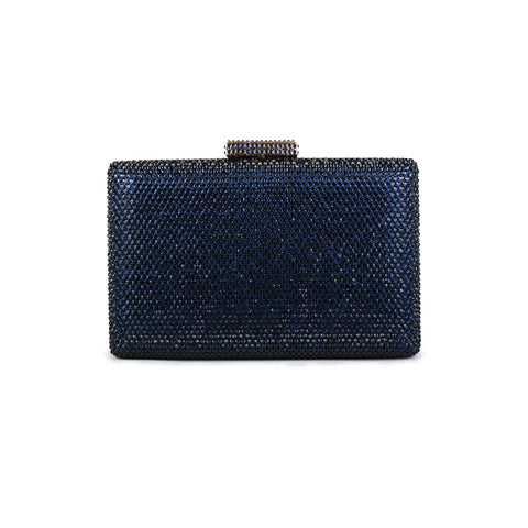 Crystal Box-Frame Clutch - Navy