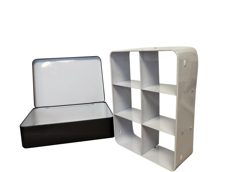 Rectangular Hinged Lid Storage Tin With Removable Metal Division