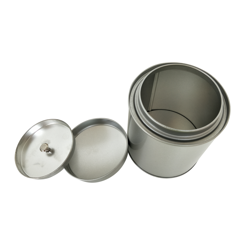 Plain Silver Round Tea Tin With Inner Slip Lid