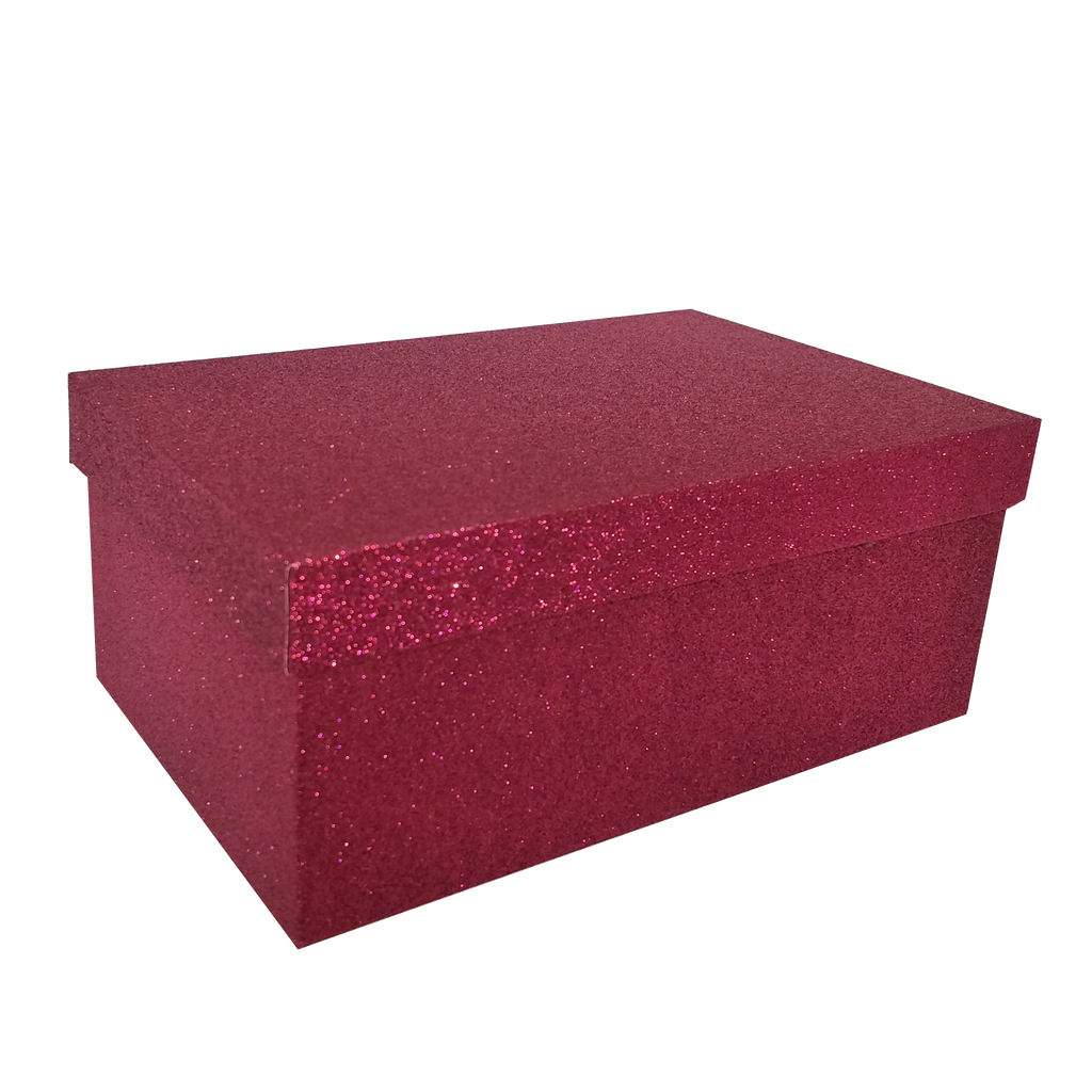 Champagne Gold/Silver/Red Rectangular Glitter Rigid Nested Gift Box