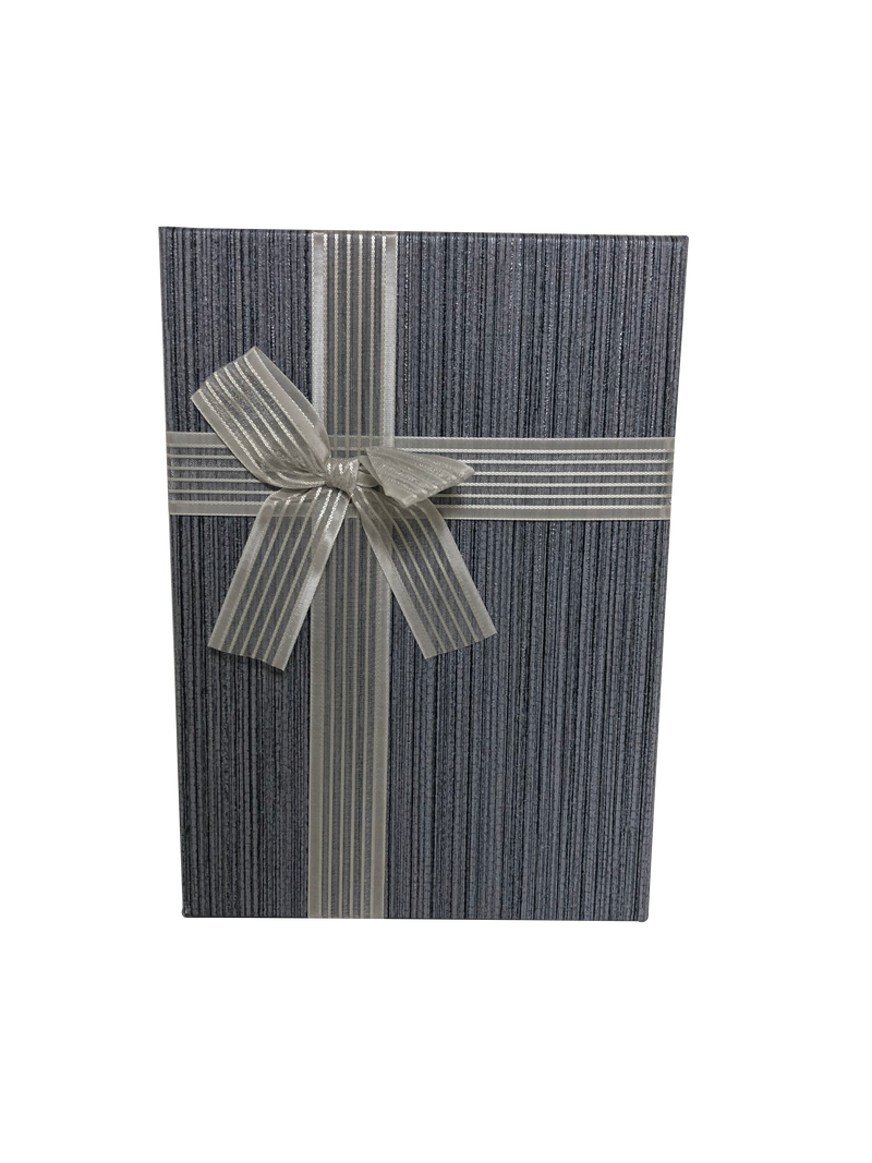 Rectangular Paper Gift Box with Striped Bow