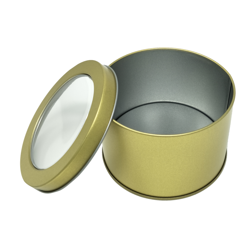 Printed Black/Gold Round Tin Box With Window Lid/ D90 x H60(mm)