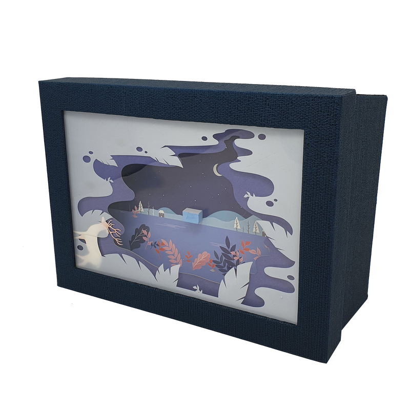 Papercraft Stag Christmas Rectangular Gift Box Set