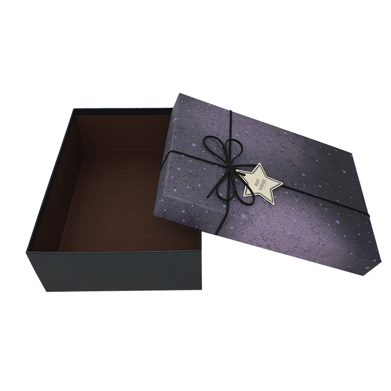 Starry Sky Rigid Gift Box with Ribbon and Bow