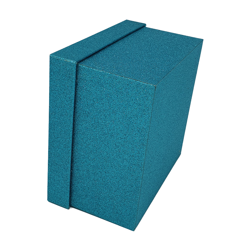 Turquoise Square Sparkly Glitter Rigid Stacking Gift Boxes