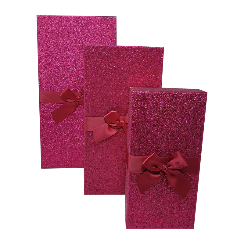 Pink Rectangular Sparkly Glitter Rigid Stacking Gift Boxes with Bow & Ribbon
