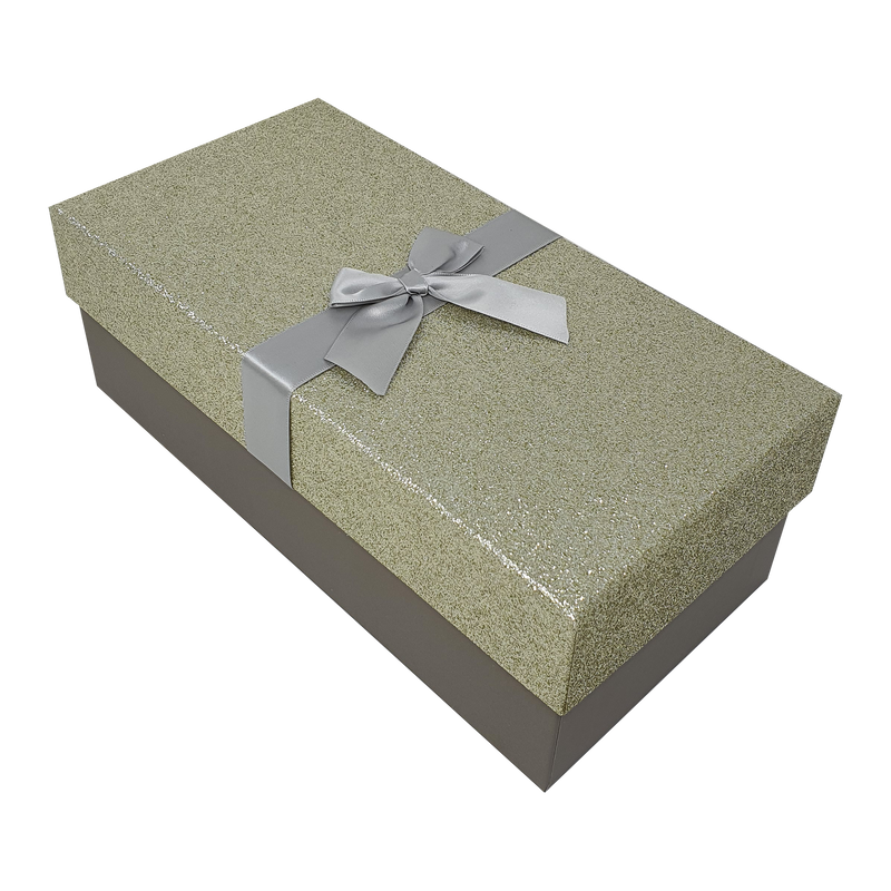 White Rectangular Sparkly Glitter Rigid Stacking Gift Boxes with Bow & Ribbon