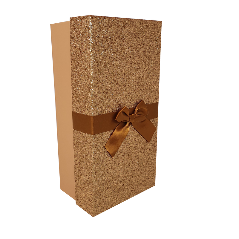 Gold Rectangular Sparkly Glitter Rigid Stacking Gift Boxes with Bow & Ribbon