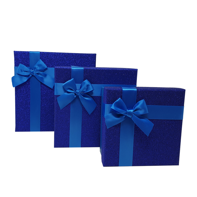 Blue Square Sparkly Glitter Rigid Stacking Gift Boxes with Bow & Ribbon