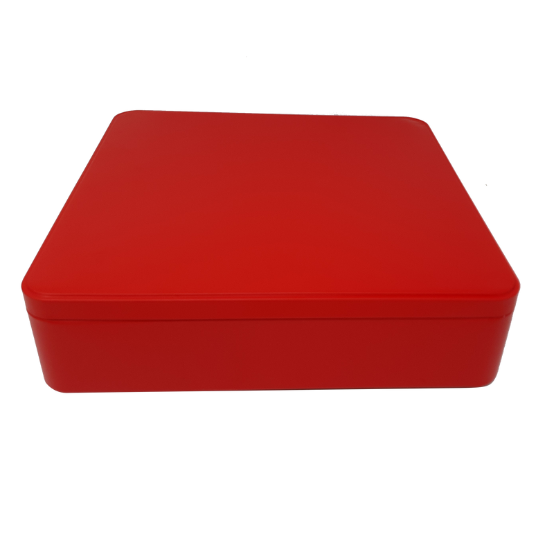 Printed Large Square Gift Tin Box With Solid Lid/ L235 x W235 x H65(mm)