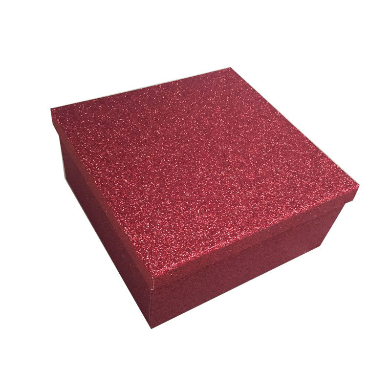 Red Square Glitter Rigid Storage Decoration Gift Box Set of 6 Pieces With Lid - Ld Packagingmall