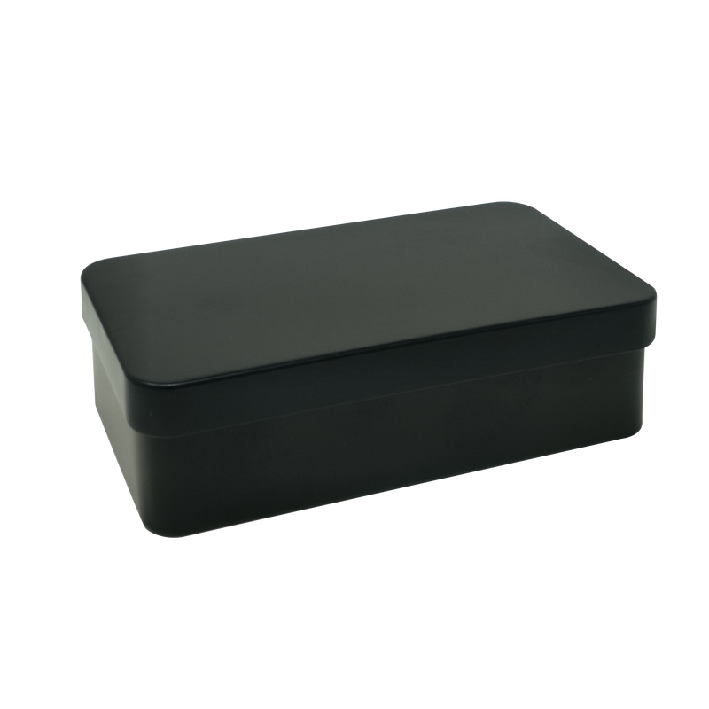 Printed Black Rectangular Gift Tin Box With Solid Lid/ L110 x W65 x H30(mm)