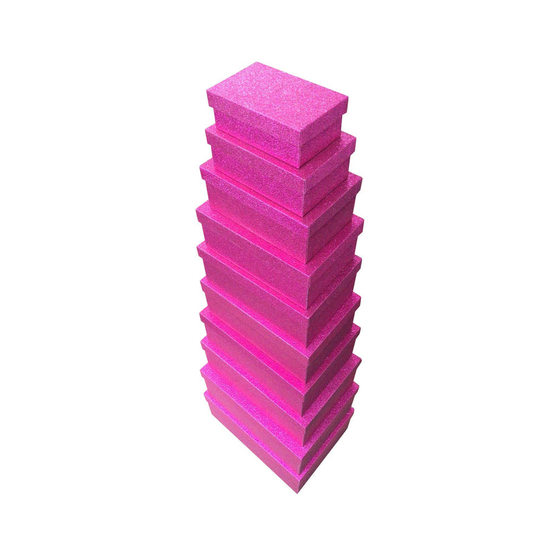 Pink Rectangular Sparkly Glitter Rigid Stacking Gift Boxes