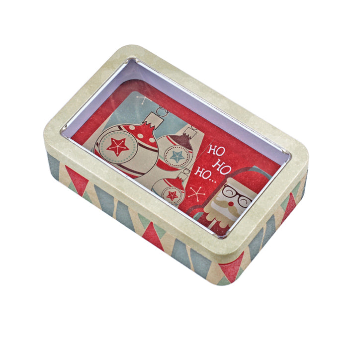 Rectangular Solid Lid With Window Storage Tin