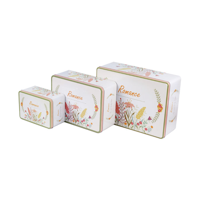 Rectangular Step Lid Storage Tin - Set of 3 - Ld Packagingmall