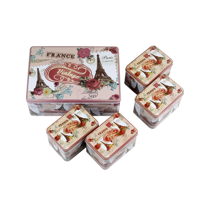 Rectangular Step Lid Storage Tin - Set of 5 - Ld Packagingmall