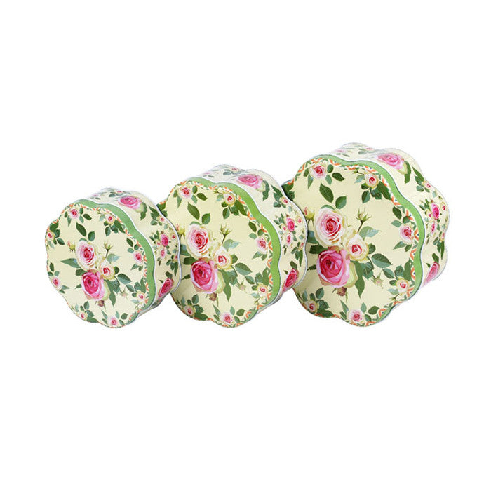 Flower Shaped Slip Lid Stackable Storage Tin -Set of 3 - Ld Packagingmall