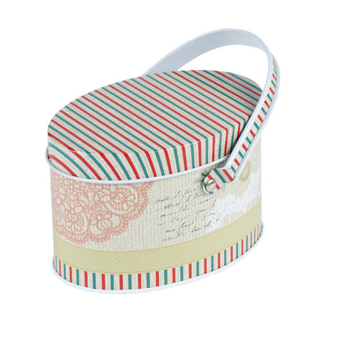 Oval Slip Lid Storage Tin with Handle