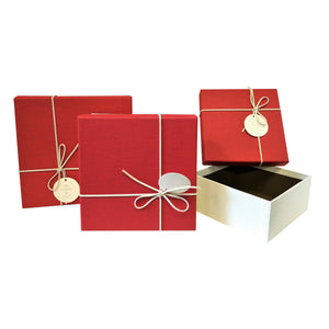 Luxury Rigid Square Gift Box with Bow and Tag ( Set of 3) - Ld Packagingmall