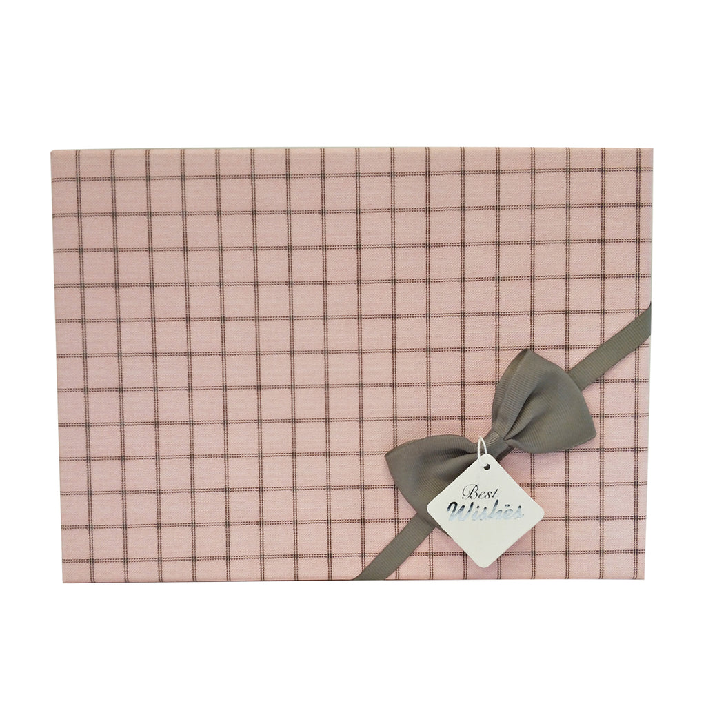 Luxury Rigid Checkered Pattern Gift Box with Bow and Tag - Ld Packagingmall
