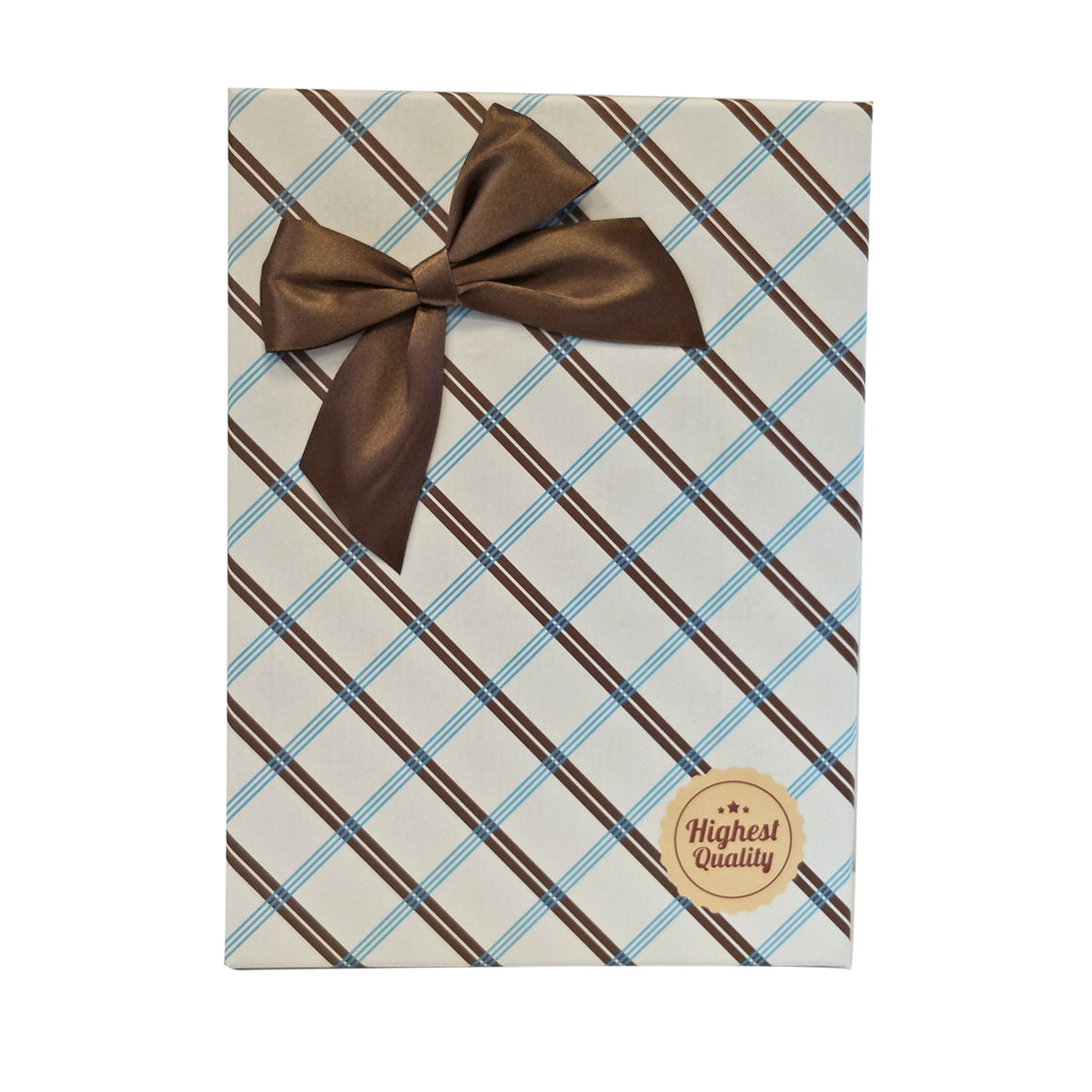 Checkered Pattern Gift Box with Bow - Set of 3