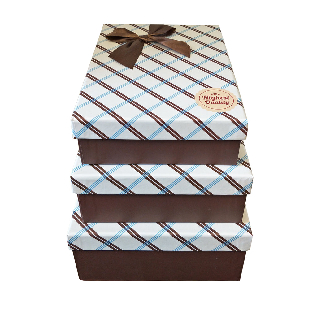 Luxury Rigid Checkered Pattern Gift Box with Bow - Ld Packagingmall