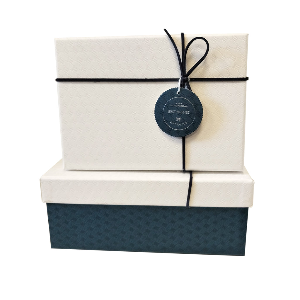 Luxury Rigid Rectangular Gift Box with Bow and Tag - Set of 3 - Ld Packagingmall