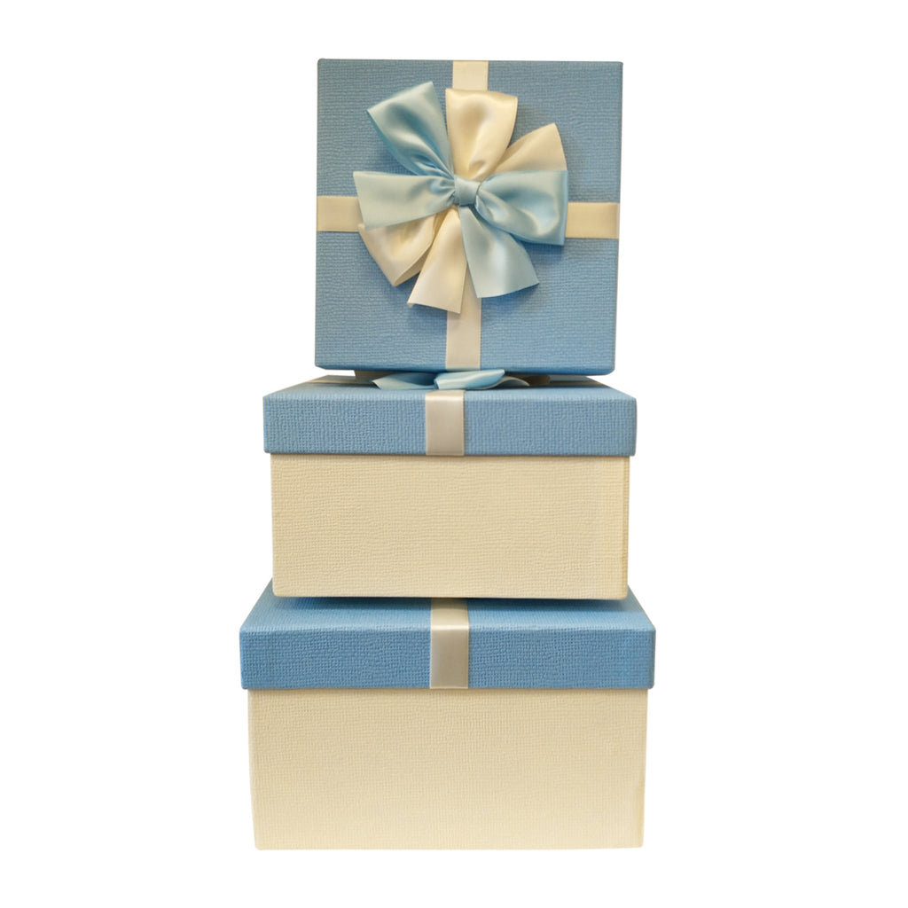 Luxury Rigid Square Gift Box with Bows -Set of 3 - Ld Packagingmall