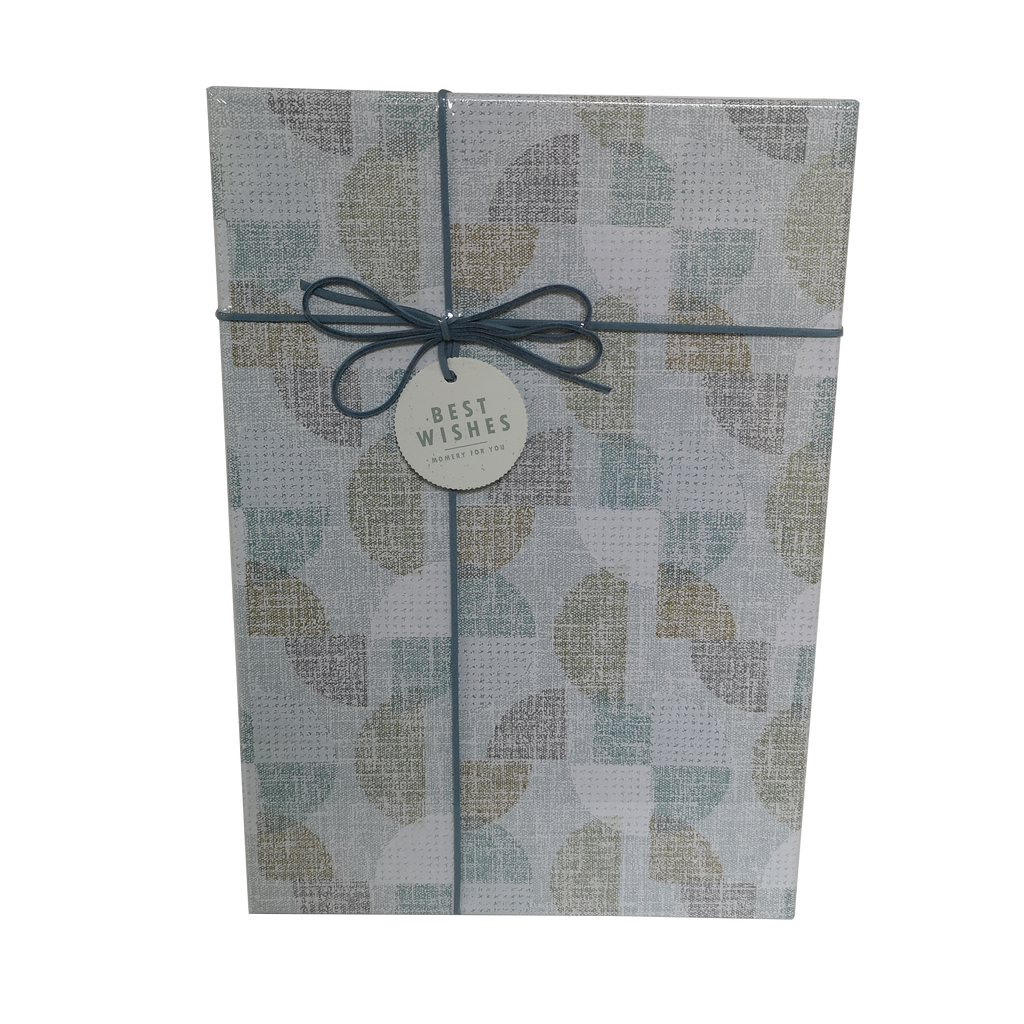 Rectangular Rigid Abstract Circle Gift Box With Ribbon & Bow
