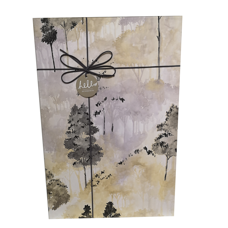 Extra Large Rectangular Rigid Watercolor Trees Gift Box With Ribbon & Bow