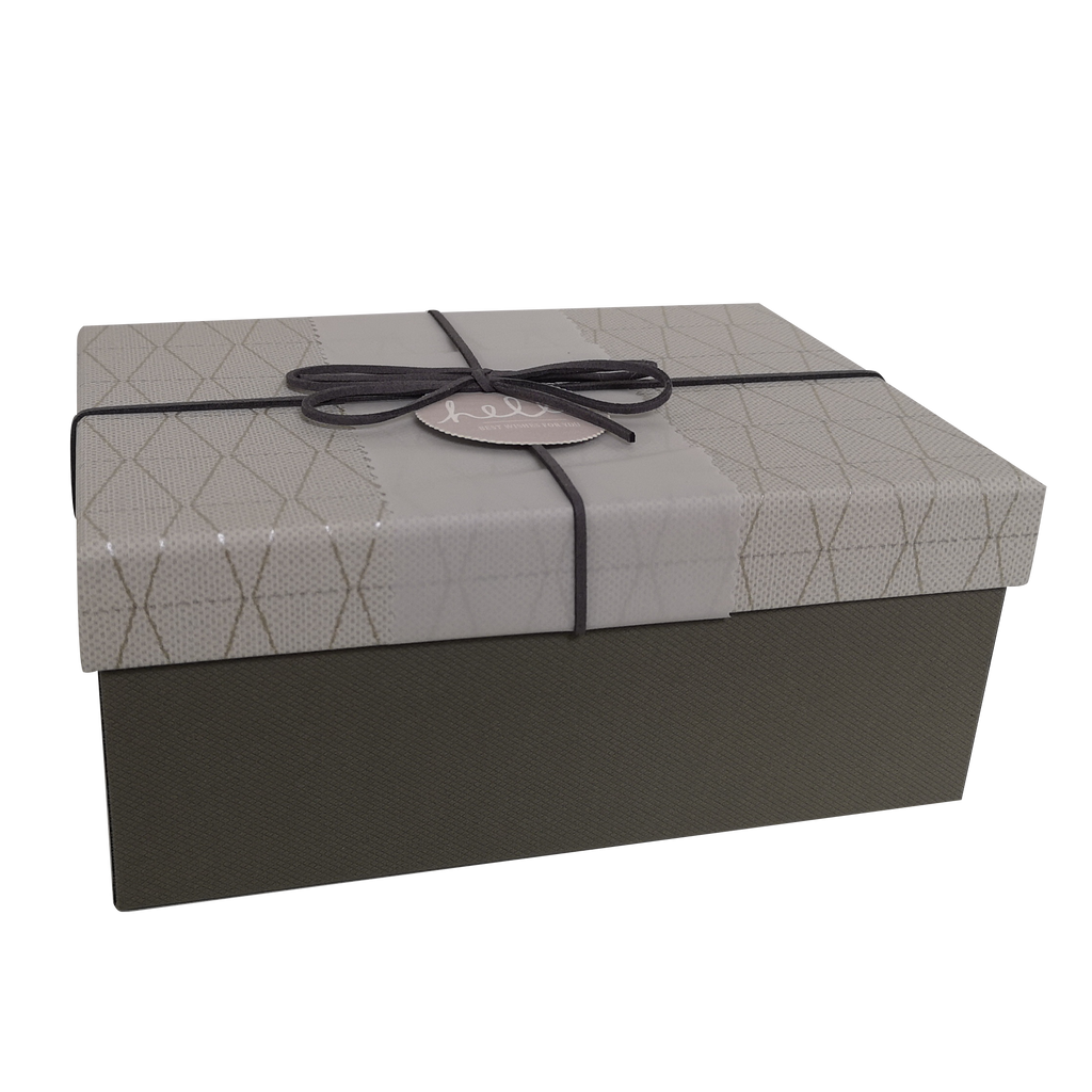Rectangular Rigid Geometric Pattern Gift Box With Ribbon & Sleeve