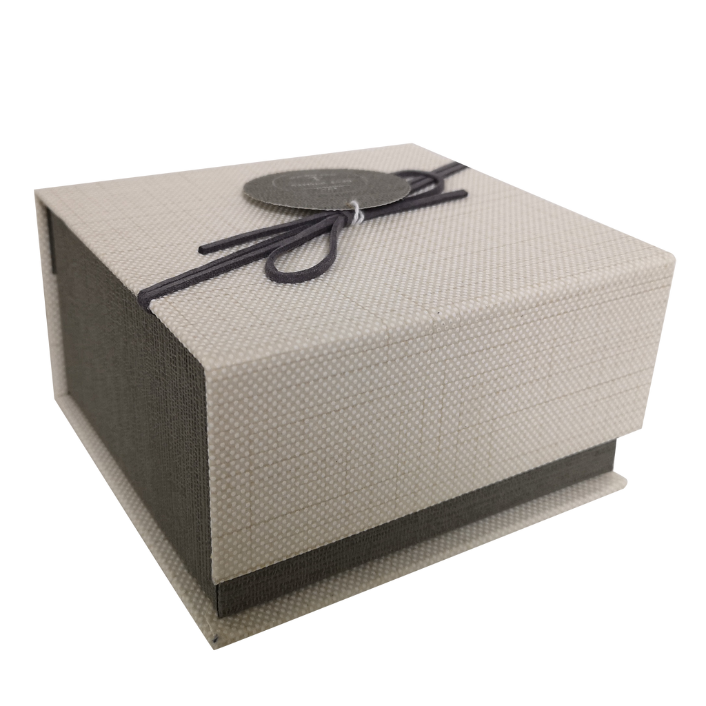 Square Rigid Magnetic Gift Box With Ribbon & Tag