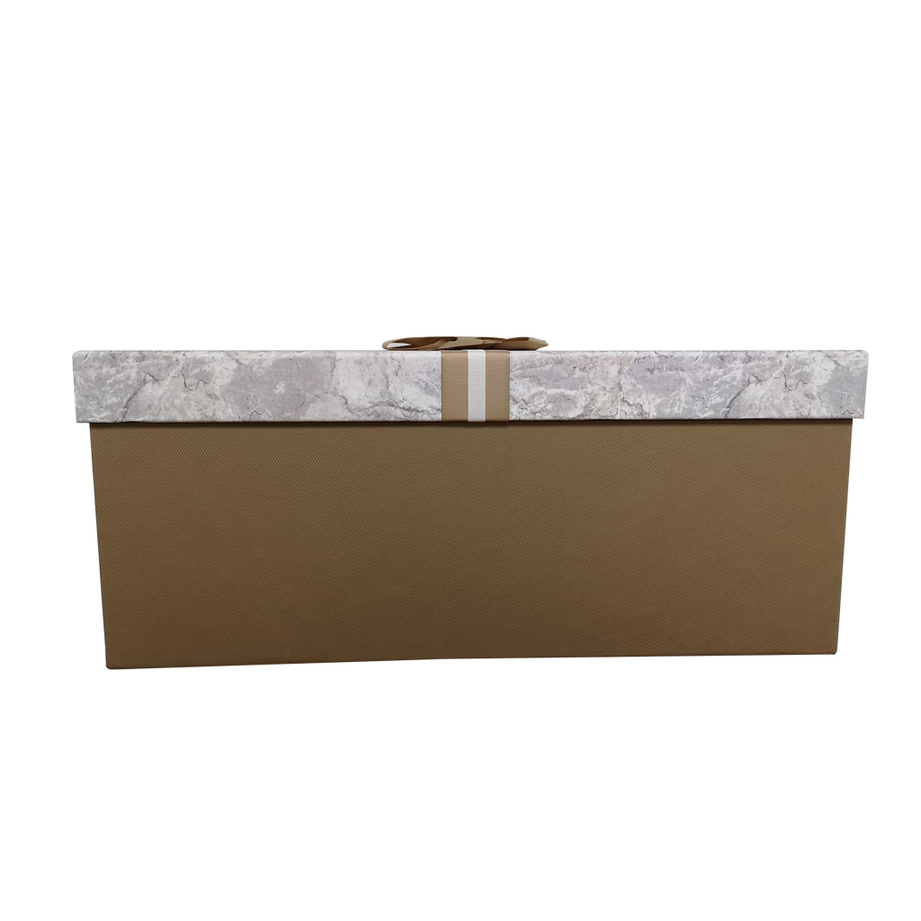 Extra Large Rectangular Rigid Marble Print Gift Box With Ribbon & Bow