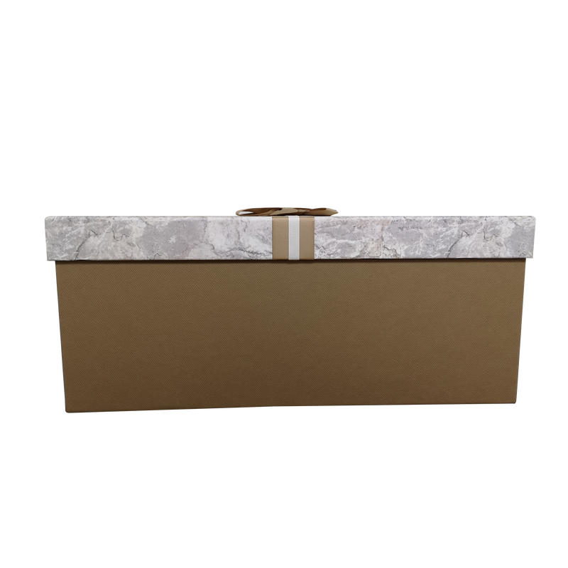 Luxury Extra Large Rectangular Rigid Marble Print Gift Box With Gold Ribbon & Bow