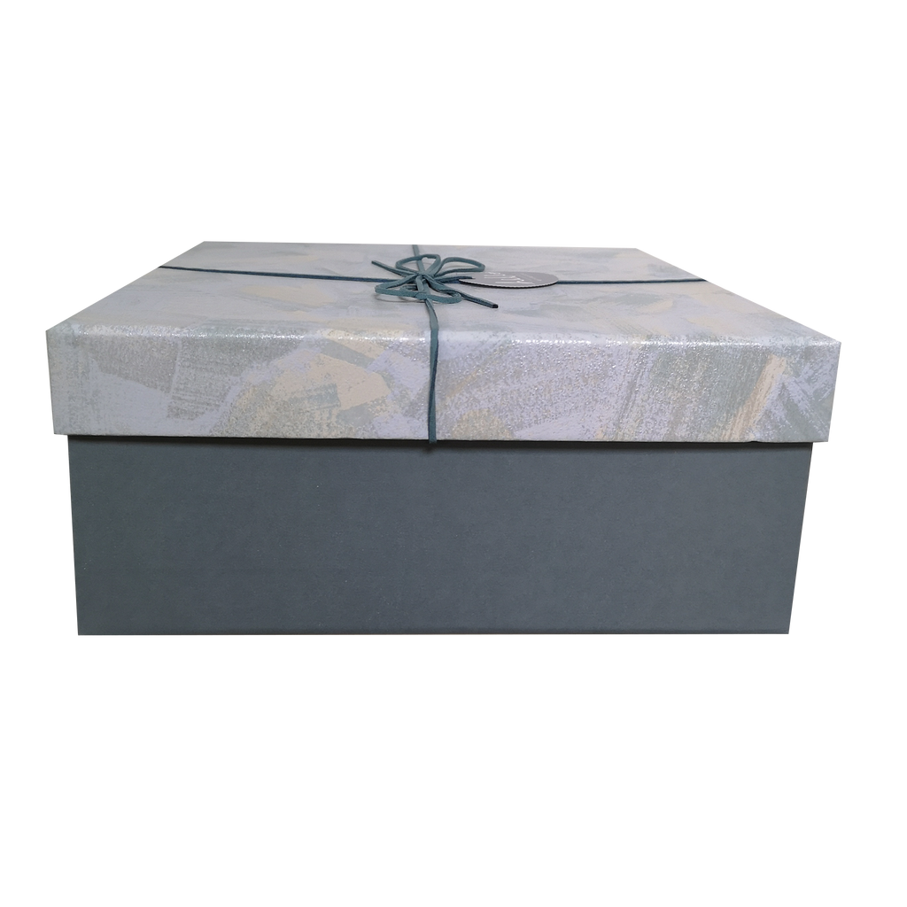 Square Rigid Brush Strokes Pattern Gift Box With Ribbon & Bow