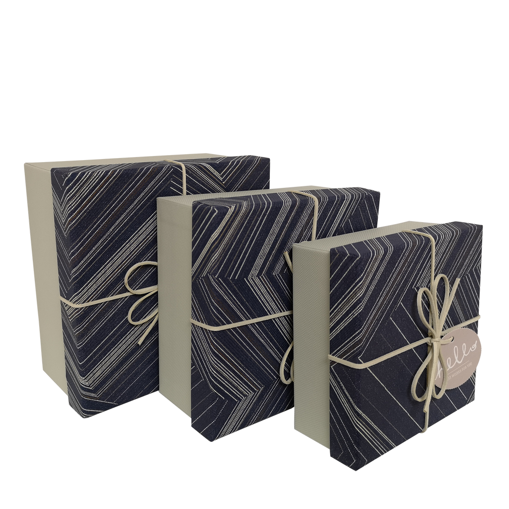 Square Rigid Striped Geormetric Gift Box with Ribbon & Tag