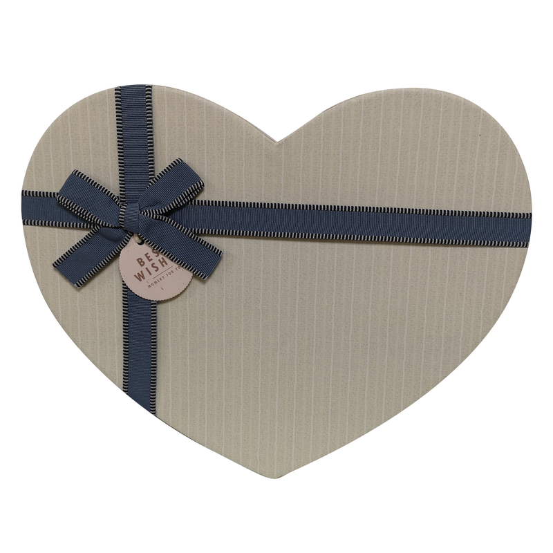 Heart Shape Rigid Hearts Vertical Lines Box With Ribbon & Bow