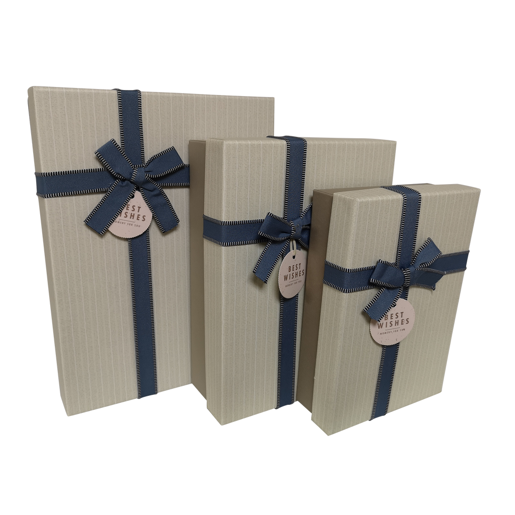 Rectangular Rigid Vertical Stripes Gift Box With Bow & Tag