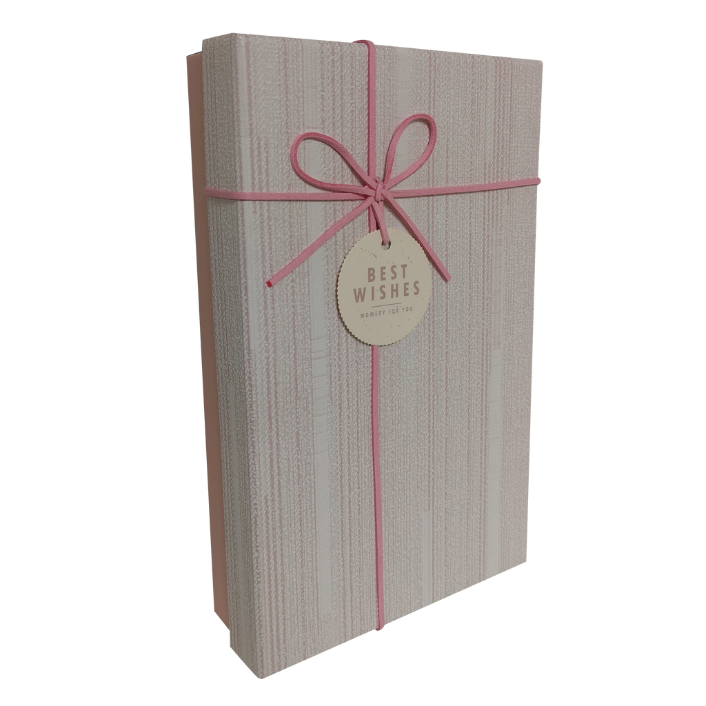 Rectangular Rigid Vertical Lines Gift Box With Ribbon & Bow
